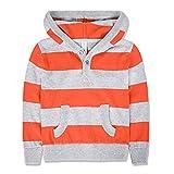 Benito & Benita Boys Sweater Striped Hoodies with Pockets Kids Casual Outwear Orange