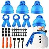 42 Pcs Snowman Decorating Making Kit Christmas Snowman Dress Up Set Winter Holiday Outdoor Kids Toys Xmas Decoration (Chic Style)