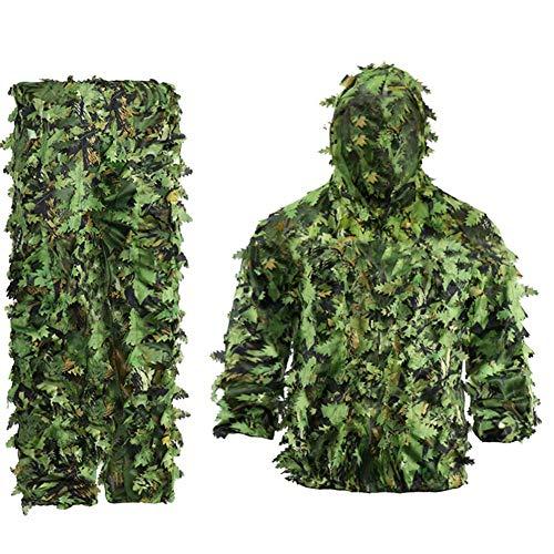 Exanko Traje de Camuflaje de Hojas BióNicas de Flores Adhesivas, Traje de Caza Ghillie, Camuflaje de Bosque, Conjunto de Camuflaje Universal (B)