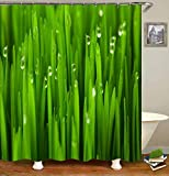 LGY Duschvorhang. Badezimmerzubehör. Wasserdicht. Digitaldruck Im 3D-Design. Enthält 12 Haken. Wassertropfen Auf Grünen Blättern.