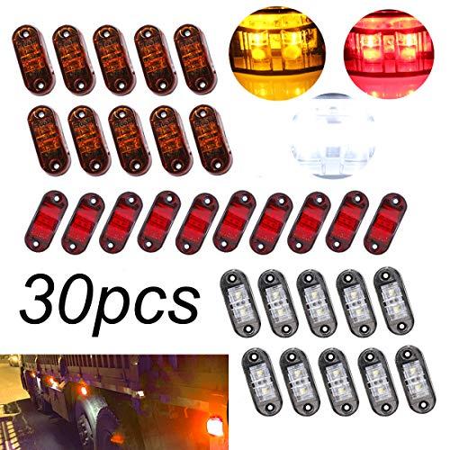 GOFORJUMP 8PCS / Set 2 LED Auto Car Truck Remorque Caravane Côté Marqueur Lumière Lampe 12V 24V Jaune Rouge Blanc Couleur Universel