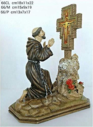 CREART S. Francesco e Il Crocifisso - Statua in Resina e Polvere di Marmo - 18x11x22 cm