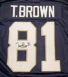 Notre Dame Fighting Irish Tim Brown Autographed Blue Jersey Beckett BAS