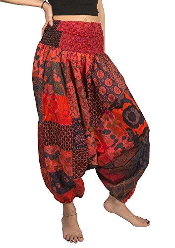 Tribe Azure 100% Cotton Casual Pants Patchwork Comfortable Baggy Yoga Hippie Boho Colorful (Medium, Ravishing Red)