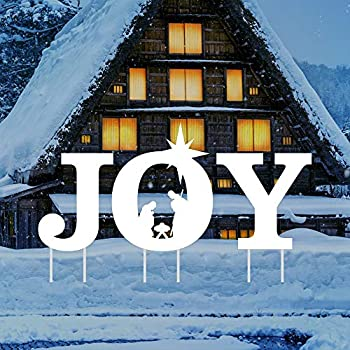 Holy Nativity - Joy Yard Sign Letters - Merry Christmas Yard Décor for Christmas Holiday Winter Decorations Outdoor with Metal Stakes VP5297