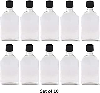 50 ml (1.7 Oz.) Premium Quality Flask Clear Plastic PET Bottle for Beverage, Alcohol or Oil with Black Temper evident caps (10 Pack)