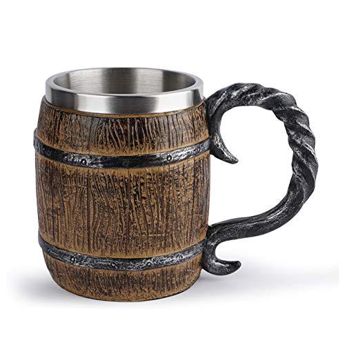Jarra de cerveza de madera de roble hecha a mano con interior de metal resistente