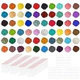 Handi Stitch Pintura Diamante Redondos (Pack de 60.000) 60 Colores / 1000 Piezas de Cada Color - Kit Pintura con Bolsas Autosellables y Etiquetas – Diamante Reemplazo para Punto de Cruz, Manualidades