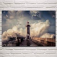 雲灯台自然の海の桟橋海の夕日の波風景部屋家の壁現代美術の装飾ポスター/ 60x90cm(フレームなし)