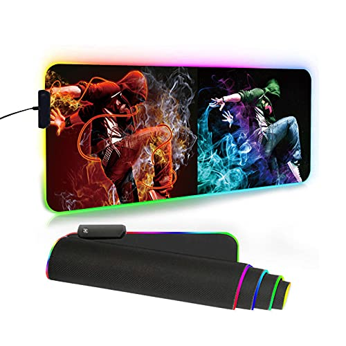 Custom RGB LED Gaming Large Mouse Pad with Photo Text Personalized Customized Mousepad Add 2 Pictures Name Logo Or Art Design Mouse Mat 31.5 x 11.8 in