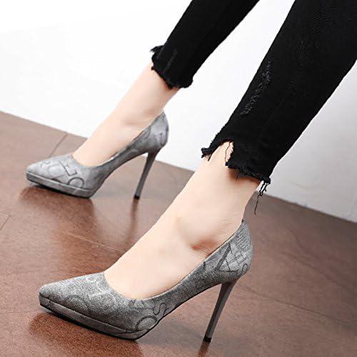 Xue Qiqi zapatos de la Corte Solo Elegante zapato de punta fina es impermeable con la alta marea personalidad Heel zapatos zapatos de mujer letras de Graffiti