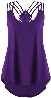 TOPME Women's Sleeveless Vest Solid Color Tank Top Criss Cross Blouse Irregular Hem Shirt S-XXXXXL
