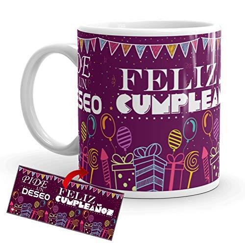 Kembilove Tazas de Desayuno de Cumpleaños – Taza con Mensaje Pide un Deseo Feliz Cumpleaños – Tazas de Café y Té Ideal para Regalar a Amigos – Taza de cerámica de 350 ml – Regalos Originales