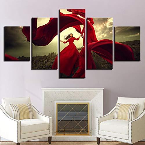 YXBNB 5 Pinturas de Lienzo Pintura de Lienzo Decoración de Sala de Estar Impresiones en HD 5 Piezas Vestido...
