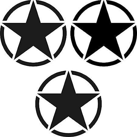 Greenit Set Sterne Schriftzug Us Army Mp Jeep Tuning Aufkleber Tattoo Die Cut Car Decal Auto Deko Folie Schwarz Auto