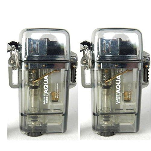 【お得な2本セット】ツインライト AQUA TURBO LIGHTER ターボライター AGAINST TURBO 風・水に強い (BK:2本)