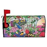 DZGlobal Briefkastenabdeckung mit bunten Blumen, Vögeln, Schmetterlingen und Gänseblümchen, magnetisch, für Garten, Hof, Heimdekoration für den Außenbereich, Standardgröße 53,3 x 45,7 cm