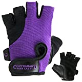 Contraband Pink Label 5057 Womens Basic Lifting Gloves (Pair) - Light-Medium Padded Durable Leather Palm Fingerless Classic Workout Gloves Designed & Sized for Women (Purple, Medium)