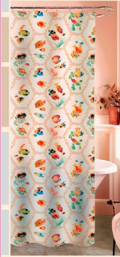 Decorative and arty honeycomb fish shower curtain