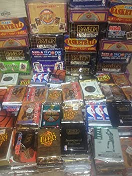 300 Unopened Basketball Cards Collection in Factory Sealed Packs of Vintage NBA Basketball Cards From the Late 80 s and Early 90 s Look for Hall-of-famers Such As Larry J Bird Earvin  Magic  Johnson Charles Barkley Shaquille O neal Hakeem Olajuwon Michael Jordan David Robinson John Stockton.