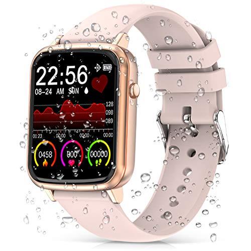 2020 Cegar Rastreador de Ejercicios, Reloj Inteligente de Frecuencia Cardíaca, Ip68 Bluetooth a Prueba de Agua Reloj Inteligente para Teléfono Android iOS Hombres Mujeres (Rosado)