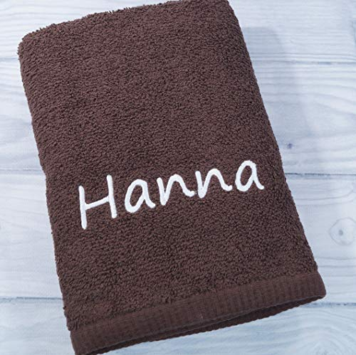 Handtuch mit Namen bestickt Duchtuch Geschenk Badetuch 500 g/m2 (Braun, 70 x 140 cm)