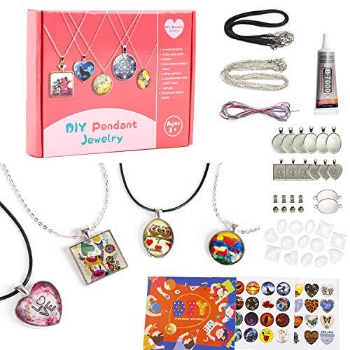 EFO SHM Bastelset Kinder Schmuckset Basteln Ketten Selber Machen DIY Armbänder Anhänger Halsketten Bastelset Erwachsene Mädchen Geschenke
