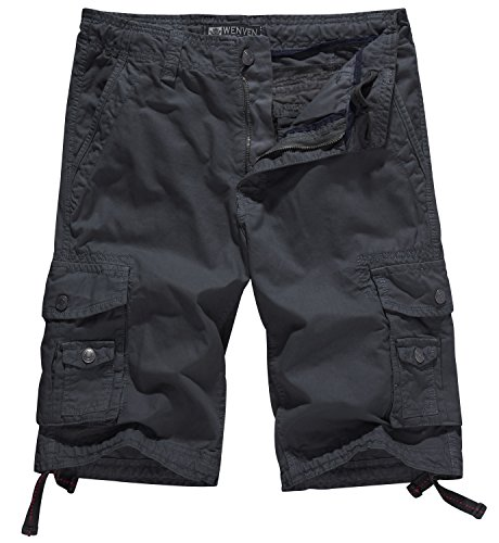 WenVen Men's Cotton Twill Cargo Shorts Outdoor Wear Lightweight (No.4 Charcoal, 33)