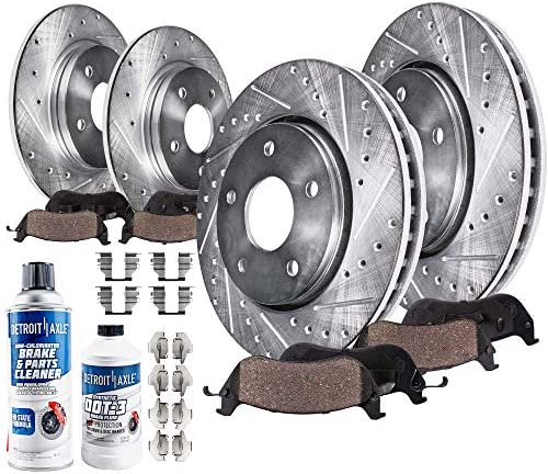 Detroit Axle All 4 Front and Rear Drilled and Slotted Disc Brake Kit Rotors w Ceramic Pads w product image