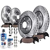Detroit Axle - All (4) Front and Rear Drilled and Slotted Disc Brake Kit Rotors w/Ceramic Pads w/Hardware & Brake Kit Cleaner & Fluid for 2013 2014 2015 2016 2017 Nissan Altima