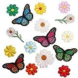 DAIRF Aufbügelflicken Kinder,16 Stück DIY Aufnäher Kinder Mehrfarbig Gänseblümchenabzeichen Gemischte Stickerei Schmetterling Stoffaufnäher für Jeans Taschen Dekoration