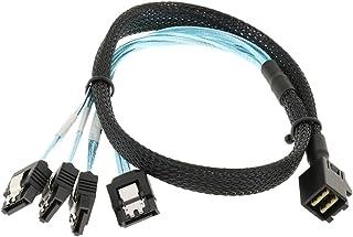 Baosity Mini SAS HD (SFF-8643) to 4 SATA 7Pin Cable, Mini SAS Host Internal Cable to Target HDD Hard Drive Splitter Cable, Green 0.5M