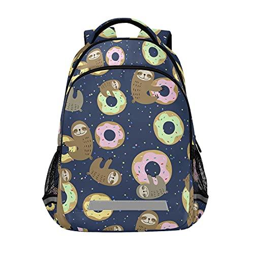 Mochila para ordenador portátil para niñas y niños, duradera y linda perezosa con dulces donuts Bookbag con tira reflectante de 42,4 x 29,5 x 17,5 cm