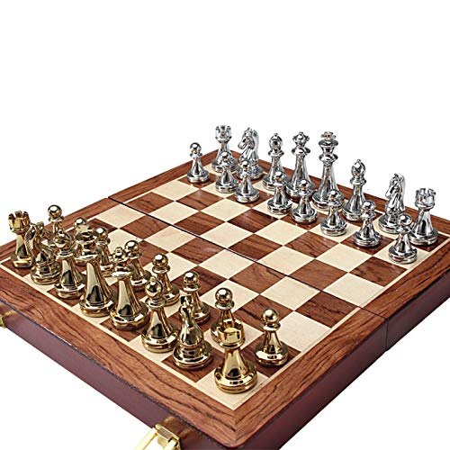 B/R Metal Deluxe Chess|Folding Chess Set|Alloy Pieces and Walnut Wood Chessboard|The Queen's Gambit Chess Set|Chess Board Game Set for Kids and Adults|Best Gift for Children and Friends.