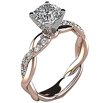 XINLI Rings for Women, 18k Gold Plating Cute Simple Engagement Small Simulation Diamond Eternity Twist Rings (Rose gold7)