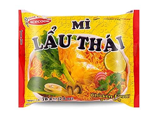 Acecook Lau Thai Instant Noodles Chicken Flavoured 78g, 15 Pack
