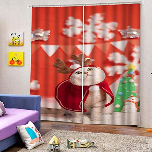 MMHJS 3D Cat Printing Curtains Christmas Thickened Warm Polyester Curtains, Bedroom And Living Room Balcony Waterproof Blackout Vertical Curtains (2 Pieces)
