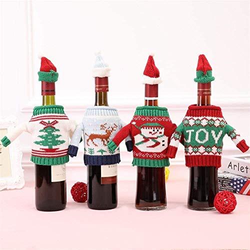 JISHIYU - Juego de 10 fundas para botellas de vino de Navidad, hecha a mano, para botella de vino, vestido de muñeco de nieve, árbol de reno para Navidad, decoración de fiesta