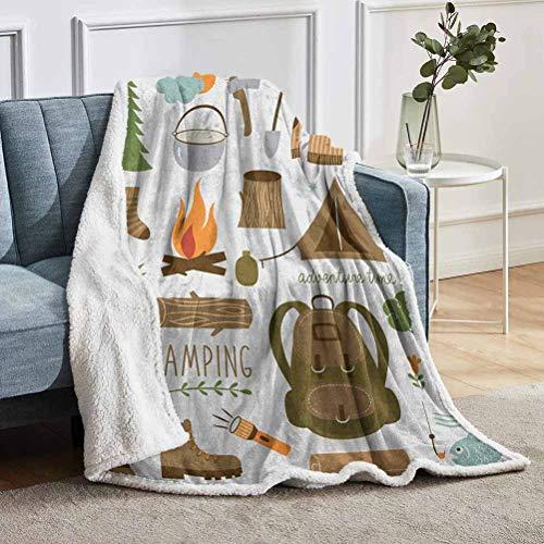 YUAZHOQI - Manta de forro polar para camping, equipo, saco de dormir, botas para hoguera, hacha, registro de ilustraciones, mantas cómodas para adultos, 127 x 152 cm, multicolor