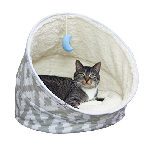 Kitty City Premium Fleece Comfy Moon Bed- Multifunction, Collapsible Spiral Cat Tunnel Bed, Large Size Cat