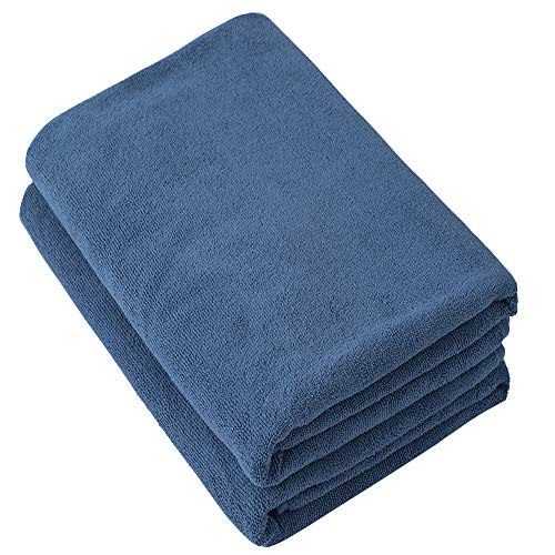 Puomue Microfiber Bath Towels – Super Absorbent Soft Fast Drying and Oversized Bath Lines  2 Pack 30 x 60 Inch  Multipurpose for Travel Sports Spa Blue