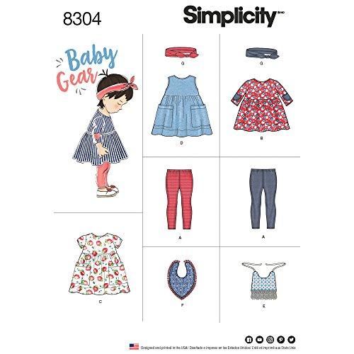 Simplicity Pattern 8304 A (XXS-XS-S-M-L) -Patrones de Costura para Ropa de bebé, Leggings, Parte Superior, Vestido, Baberos y Diadema, Papel, Blanco, 22.00 x 15.00 x 1.00 cm