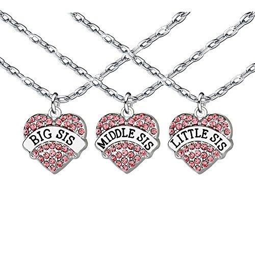 Schmuckset aus Halskette und Anhänger mit rosa Kristall, für Freundin, Schwester, Familie, Damen, große/kleine/mittlere Schwester