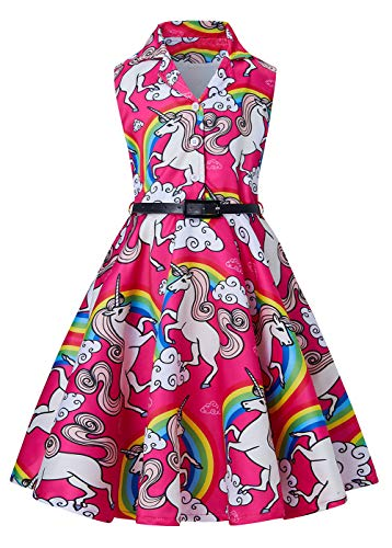 RAISEVERN Vestido sin Mangas Retro de Las Muchachas 1950 Rockabilly oscilación botón Frontal del Vestido de Coctel Plisado Vendimia del Partido con el cinturón,Rosa