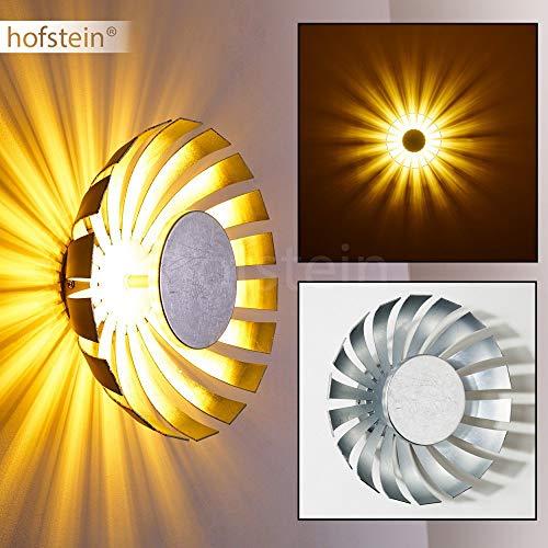 Wandspot LED Famosa in Silber - Runde Wandleuchte mit strahlenförmigem Lampenschirm - Wandlampe aus Metall als stilisierte Blüte - Leselampe mit tollen Lichteffekten – 950 Lumen – 3000 Kelvin