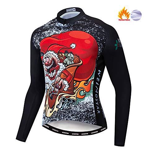 Maillot de ciclismo para hombre de manga larga de forro polar para...