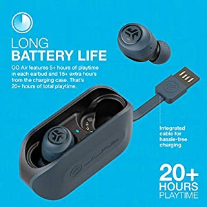 JLab Audio Go Air True Wireless Bluetooth Earbuds + Charging Case | Dual Connect | IP44 Sweat Resistance | Bluetooth 5.0 Connection | 3 EQ Sound Settings: JLab Signature, Balanced, Bass Boost… (Blue)