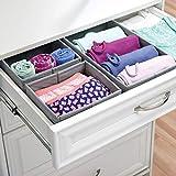mDesign 6er-Set Stoffbox für Schrank oder Schublade – die ideale Aufbewahrungsbox (Stoff) – flexibel verwendbare Stoffkiste – grau - 4