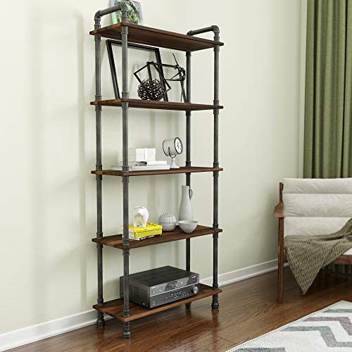 Barnyard Designs Furniture 5-Tier Etagere Bookcase, Solid Pine Open Wood Shelves, Rustic Modern Industrial Metal and Wood Style Bookshelf, Brown, 70.5' x 29.5' x 11.75'