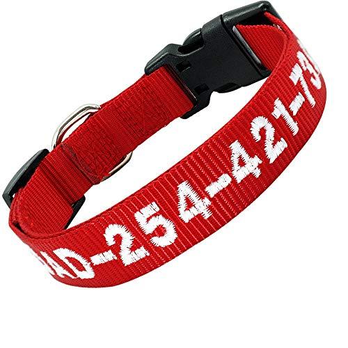 Didog Personalisiertes besticktes Hundehalsband mit Namen und Telefonnummer, für kleine, mittelgroße und große Hunde, rotes Halsband, weißer Faden